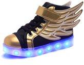 Fuiigo Kid Boy Girl Usb Charging Colorful Glowing Casual Shoes Sneakers 9 M US