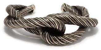 Saint Laurent Twisted Interlocking Cuff - Silver