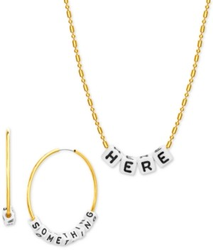 "Steve Madden Interchangeable Lettering Bead Hoop & Necklace Set, 16"" + 3"" extender"