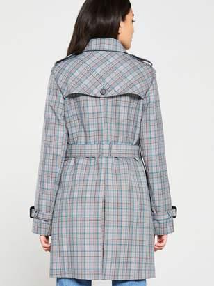 Jack Wills Mitford Check Trench Coat - Grey