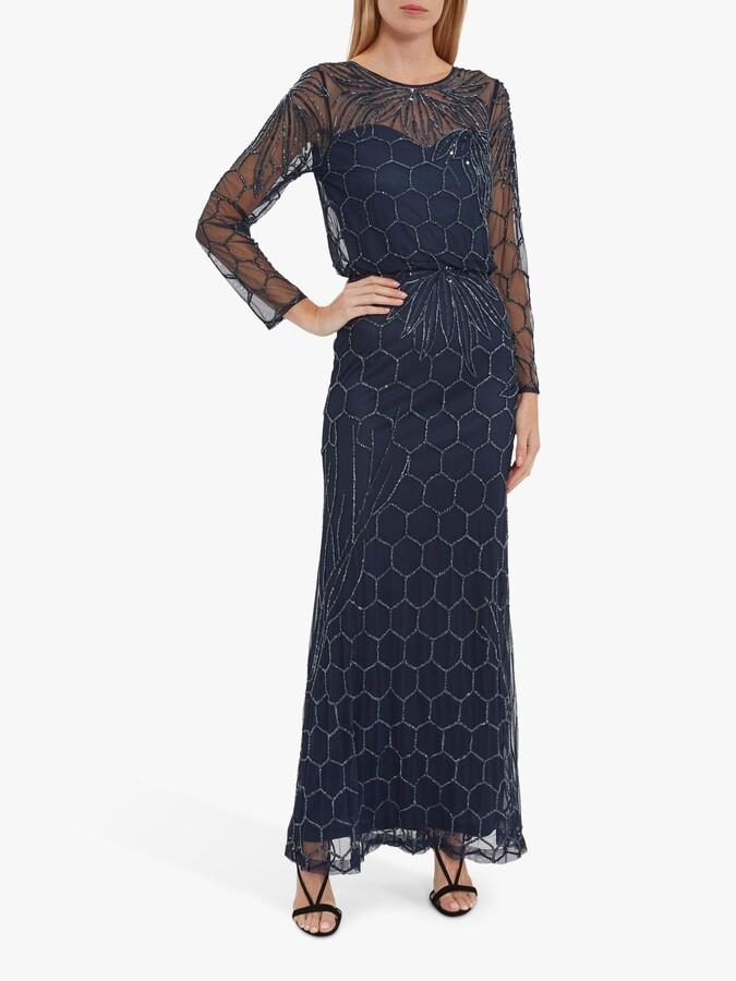 Thumbnail for your product : Gina Bacconi Katherine Embellished Hexagon Print Maxi Dress