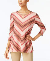 JM Collection Striped Keyhole Top, Created for Macy's