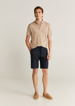 MANGO Striped linen-cotton blend Bermuda short