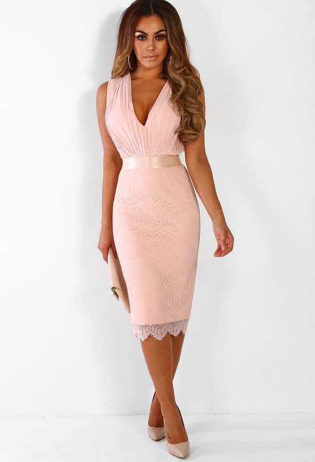 Pink Boutique Mayfair Dreaming Nude Pleated Lace Midi Dress