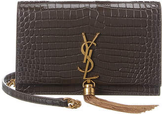 Saint Laurent Kate Tassel Croc-Embossed Leather Wallet On Chain