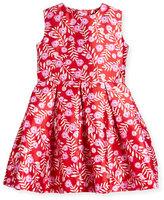 Oscar de la Renta Sleeveless Abstract Floral Mikado Dress, Ruby/Fuchsia, Size 8-14