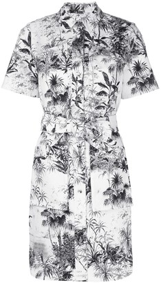 Adam Lippes Belted Printed Twill Shirt Dress