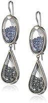 """Moritz Glik Kaleidoscope""""18k White Gold Diamond and Blue Sapphire Dangle Earrings"""