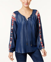 Style&Co. Style & Co Denim Peasant Top, Created for Macy's