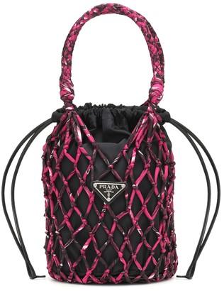 Prada Net-trimmed nylon bucket bag