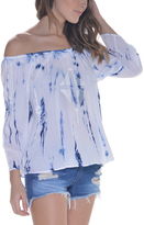 Paparazzi Blue & White Tie-Dye Off-Shoulder Top