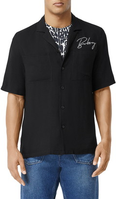 Burberry Randall Embroidered Short Sleeve Button-Up Camp Shirt