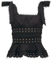 Zimmermann Kirra Broderie Anglaise-linen Crop Top - Womens - Black