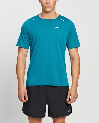 Nike Men's Blue Short Sleeve T-Shirts - Rise 365 Short Sleeve Running Top - Size S at The Iconic