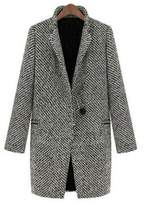 Partiss Women Long Warm Jacket Houndstooth Trench Coat XL
