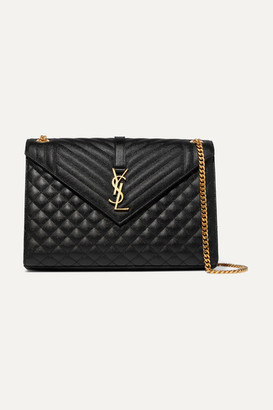 Saint Laurent Envelope Large Quilted Textured-leather Shoulder Bag - Black