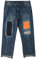 Patchwork Cutting Pants Blue