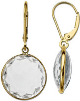 Lord & Taylor White Topaz Earrings in 14K Yellow Gold