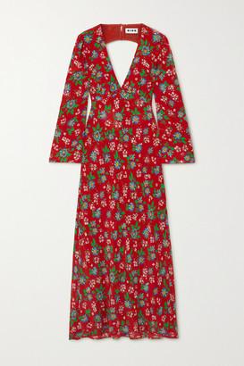 Rixo Nadine Open-back Floral-print Silk-crepe Maxi Dress - Red