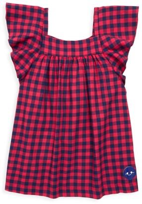 Smiling Button Little Girl's & Girl's School Yard Check Flutter Dress