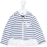 Miss Blumarine striped zipped hoodie - kids - Cotton/Acrylic/Polyamide/Viscose - 12 mth