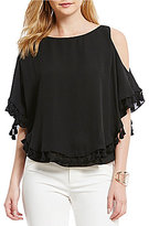 Gianni Bini Amanda Tassel Trim Cold Shoulder Blouse