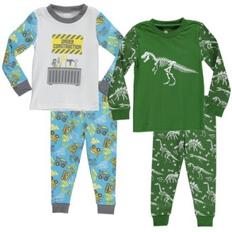 Sol Sleep Boys Cotton Tight Fit Pajamas, 4-Piece Set, Sizes 4-7
