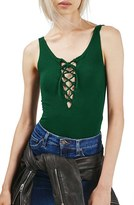Topshop Women's Lace-Up Sleeveless Bodysuit