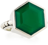 Stephen Dweck Green Agate Hexagon Ring, Size 7