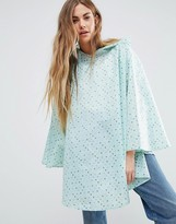 totes Pocket Blue Painted Dot Print Poncho
