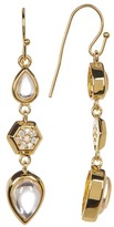 Melinda Maria Levi Teardrop Pave Geo Linear Earrings