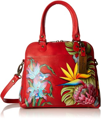 Anuschka Womens Genuine Leather Zip Around Convertible Satchel - Hand Painted Exterior - Island Escape