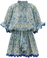 Juliet Dunn Temple Floral Printed Metallic-edged Mini Dress - Womens - Blue Print