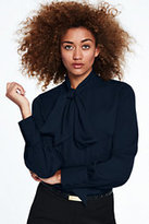Lands' End Women's Bow Tie Blouse-Radiant Navy
