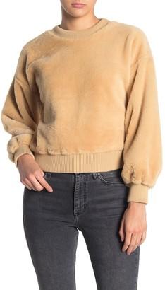 Love, Fire Faux Fur Crew Neck Sweater