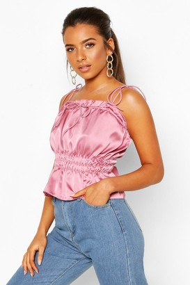 boohoo Petite Ruched Waist Satin Top