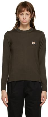 MAISON KITSUNÉ Brown Merino Fox Head Sweater