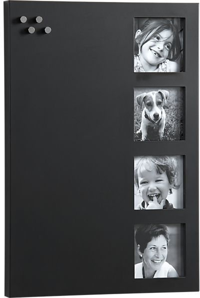 Crate & Barrel Chalkboard 4x4 4-Pic Frame-Memo Board with Magnets