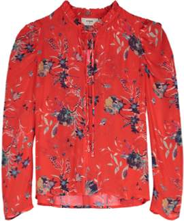 Pyrus - Penelope Buzzy Floral Print Red Blouse - S/10