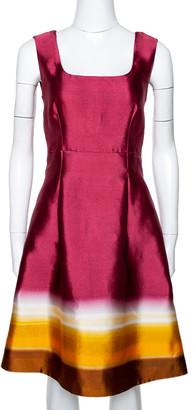 Prada Maroon Ombre Printed Silk Sleeveless Dress M
