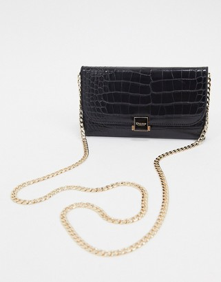 Dune kambar patent croc effect purse on a chain