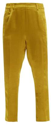 Ann Demeulemeester Cropped Hammered Satin Trousers - Womens - Yellow