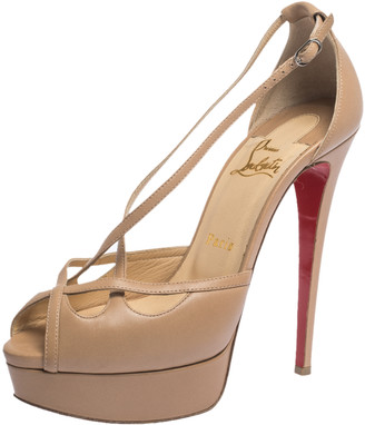 Christian Louboutin Beige Leather Strappy Platform Sandals Size 38.5