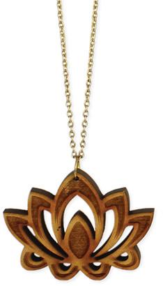 Zad ZAD Women's Necklaces lotus - Wood & Goldtone Openwork Lotus Pendant Necklace