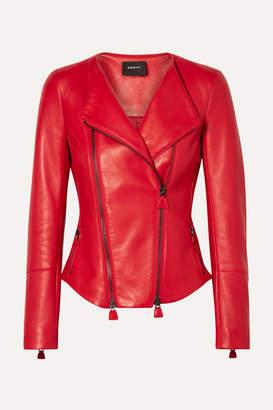 Akris Vesa Shirred Leather Biker Jacket