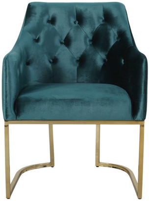 Gdfstudio Fern Modern Tufted Glam Accent Chair w/ Velvet Cushions & U-Shaped Bas