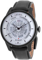 Gevril Men's Automatic-Self-Wind Columbus Circle Black Leather Strap Watch