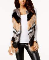 Bar III Chevron Patchwork Faux-Fur Vest
