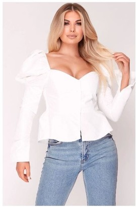 Hachu White Puff Shoulder Cupped Top