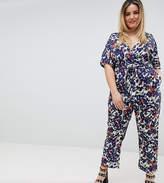 Uttam Boutique Plus Floral Kimono Sleeve Jumpsuit